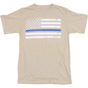 Desert Sand Distressed Thin Blue Line US American Flag White Stripe GHOST T-Shirt Tee IRR