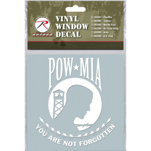 White Military Vinyl POW / MIA Clear Window Decal