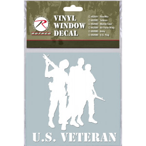 White Military Vinyl US Military Veterans Clear Window Decal