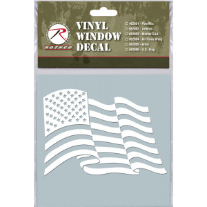 White Military Vinyl United States Flag Clear Window Decal