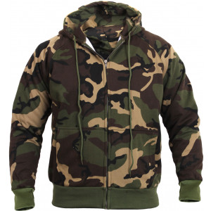 Woodland Camouflage Thermal Lined Zip Up Hoodie Sweatshirt