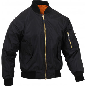 Black Lightweight Air Force MA-1 Military Bomber Flight Jacket