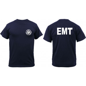 Navy Blue 2 Sided EMT Official Issue Raid Short Sleeve T-Shirt