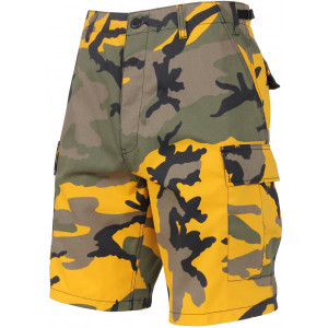 Yellow Camouflage Cargo Military BDU Shorts