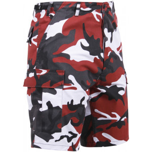 Red Camouflage Cargo Military BDU Shorts