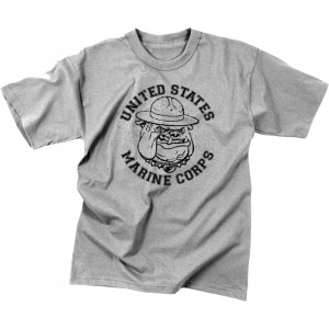Grey Military Vintage T-Shirt Design Marine Corps Bulldog Short Sleeve T-Shirt