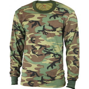 Kids Woodland Camouflage Tactical Camo Long Sleeve T-Shirt Crew-Neck Tee