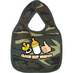 Woodland Camouflage Choose Your Weapon Infant Baby Bib