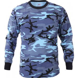 Sky Blue Camouflage Tactical Long Sleeve Military T-Shirt