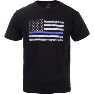 Kids Black Thin Blue Line USA American Flag Support Police T-Shirt