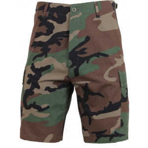 Woodland Camouflage Rip-Stop Cargo Military BDU Shorts