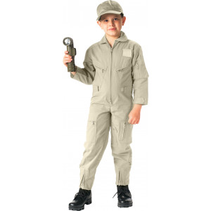 Kids Khaki US Air Force Style Military Costume Flight Suit