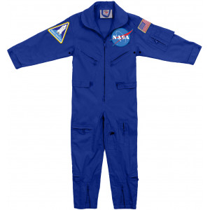 Kids Royal Blue NASA Space Shuttle Air US Flight Suit Coveralls with Patches