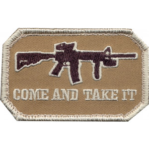Brown Military Come & Take It Shoulder Patch With Hook Back