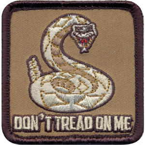Brown Military Don't Tread On Me Patch With Hook Back