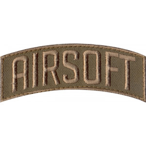 Brown Military Airsoft Shoulder Patch With Hook Back