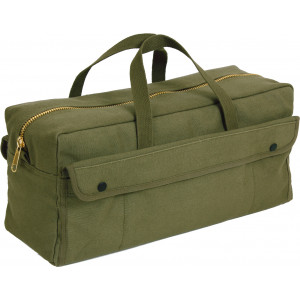 Olive Drab Mechanics Heavy Duty Jumbo Tool Bag with Brass Zipper