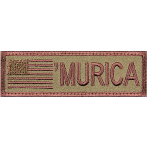 "Coyote Brown ""Murica"" US Flag Hook Back Patch 4"" x 1 1/8"""