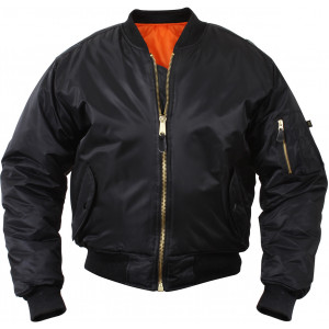 Black Military Air Force MA-1 Bomber Flight Jacket