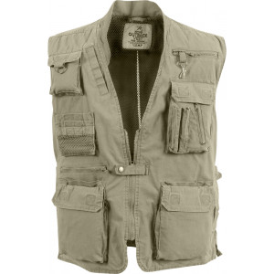 Khaki Deluxe Multi-Pocket Safari Outback Hunting Travel Vest