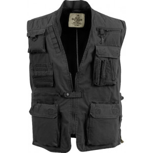 Black Deluxe Multi-Pocket Safari Outback Hunting Travel Vest