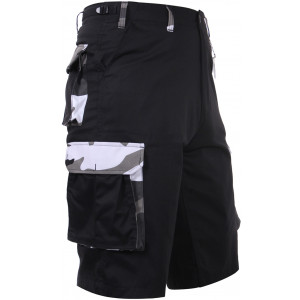 Black Military Long BDU Cargo Shorts With City Camo Accents
