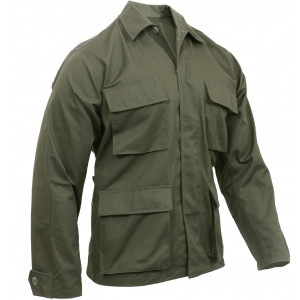 Olive Drab Military Polyester/Cotton Fatigue BDU Shirt