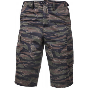 Tiger Stripe Camouflage Military Long BDU Cargo Shorts