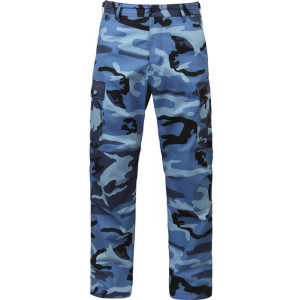 Sky Blue Camouflage Military Cargo BDU Fatigue Pants