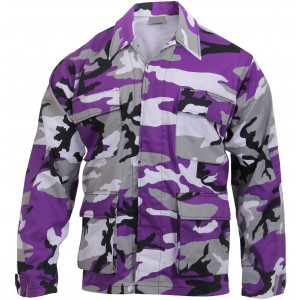 Purple Camouflage Military BDU Fatigue Jacket Tactical Coat Shirt