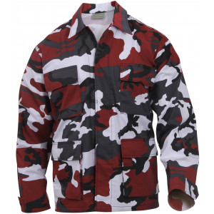 Red Camouflage Military BDU Fatigue Jacket Tactical Coat Shirt
