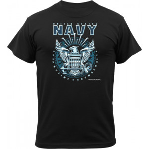 Black Military United States Navy Logo Short Sleeve T-Shirt