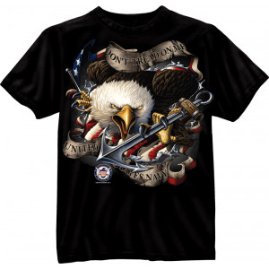 Black Military United States Navy Emblem Short Sleeve T-Shirt