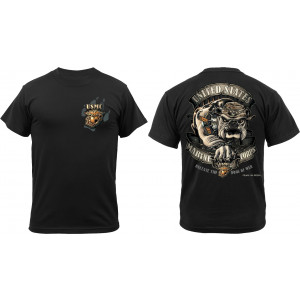 Black Ink Design 2 Sided USMC Marine Corps Devil Dog Bulldog T-Shirt