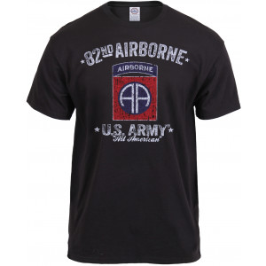 Black 82nd Airborne Division All American Distressed Black Ink T-Shirt