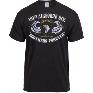 Black Vintage 101st Airborne Division Screaming Eagle Black Ink T-Shirt