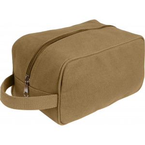 Coyote Brown Heavy Canvas Travel Kit Toiletry Case