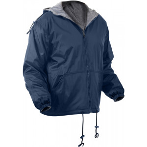 Navy Blue Military Tactical Reversible Fleece Lined Hooded Jacket