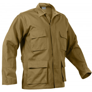 Coyote Brown Military BDU Polyester/Cotton Fatigue Shirt