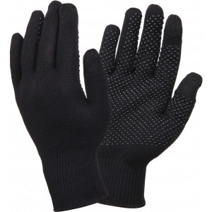 Black Touch Screen Gloves With Gripper Dots