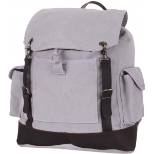 Grey Vintage Military Expedition Rucksack Backpack Bag