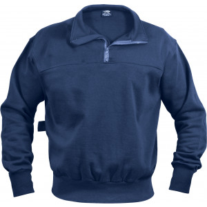 Navy Blue Heavyweight Long Sleeve Firefighter EMS 1/4 Zip Work Shirt