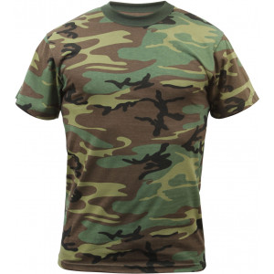 Woodland Camouflage Military Short Sleeve T-Shirt