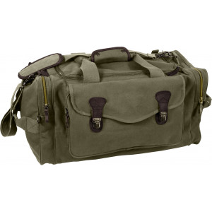 Olive Drab Extended Stay Canvas Weekend Travel Shoulder Duffle Bag