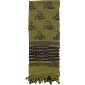 Olive Drab Shemagh Arab Tactical Desert Keffiyeh Scarf w/ Gadsden Snakes & Stars