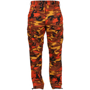Savage Orange Camouflage Military Cargo BDU Fatigue Pants
