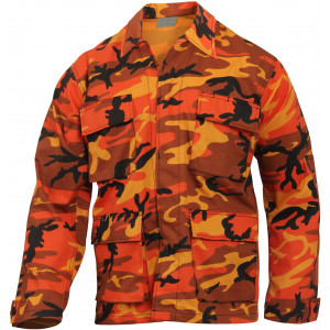 Savage Orange Camouflage Military BDU Fatigue Jacket Tactical Coat Shirt