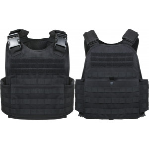 Black MOLLE Tactical Plate Carrier Assault Vest