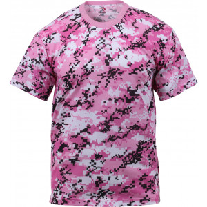 Pink Digital Camouflage Military Short Sleeve T-Shirt