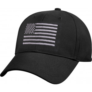 Black Deluxe Subdued US Flag Low Profile American Flag Baseball Cap
